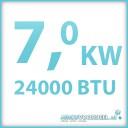 Koelcapaciteit 7.0 kW 24000 BTU